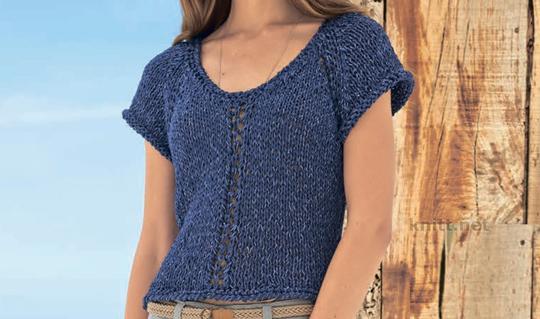 Короткий пуловер синего цвета