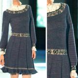 Платье с жаккардовыми вставками