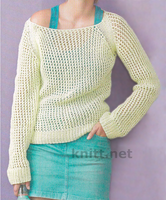 Пуловер из сетчатого узора