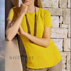 Пуловер реглан желтого цвета