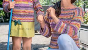 Пуловер с чередованием узоров