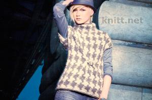 Пуловер с коротким рукавом с жаккардовым узором