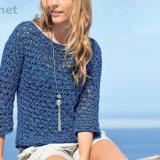 Пуловер с узором из вытянутых петель