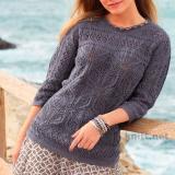 Серый пуловер с ажурным узором