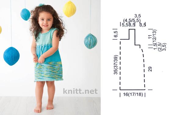 Детское платье спицами, летнее платье из хлопка
