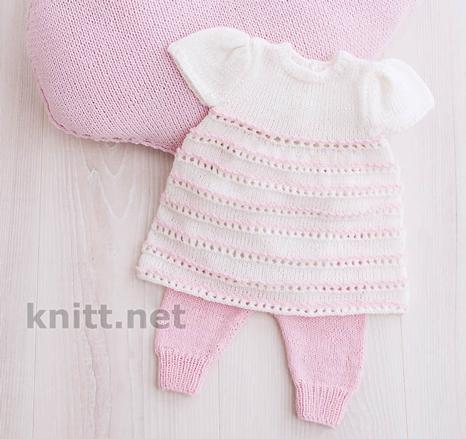 платья для девочек, платье и штанишки для малышки спицами