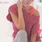Пуловер цвета фуксии с коротким рукавом