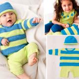 Пуловер, штанишки и шапочка для малыша из яркой пряжи