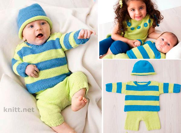 Комплект спицами: пуловер, штанишки и шапочка для малыша из яркой пряжи