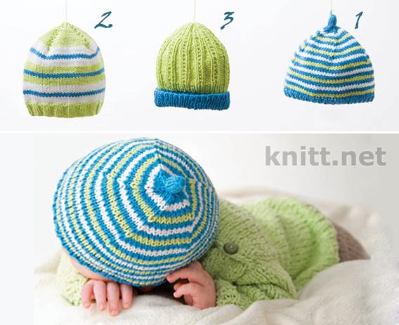 вязаные шапки для малышей, Три яркие шапочки для малыша