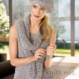 Вязаный летний комплект: топ, шарф, берет