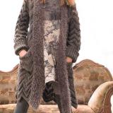 Пальто-жакет с объемным зигзагообразным узором