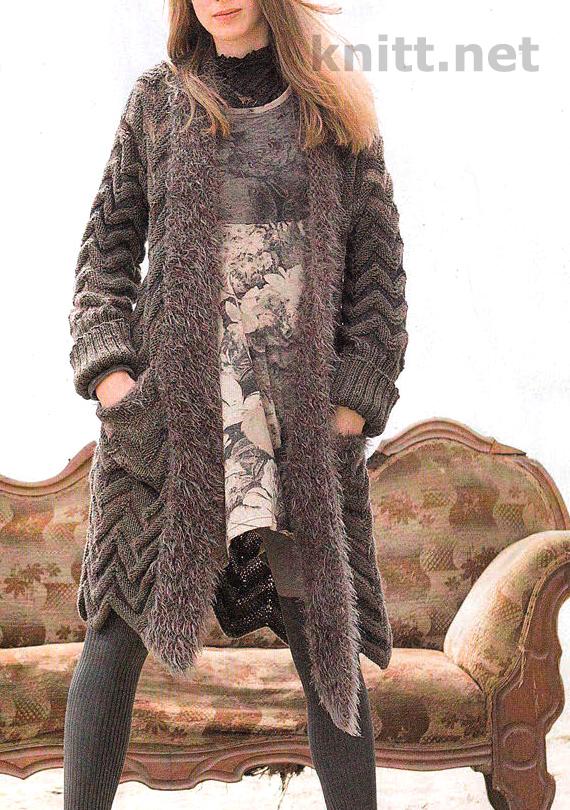 Пальто жакет с объемным зигзагообразным узором