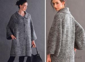 Широкое пальто спицами