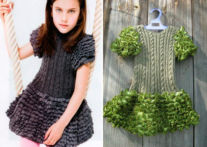 Вязание из ленточной пряжи, платье для девочки