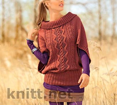Пуловер пончо с узорами