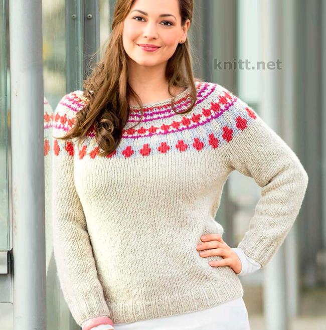 Норвежский пуловер с круглой кокеткой