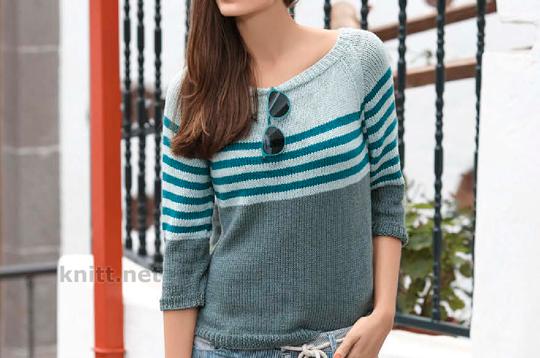 Пуловер с узором колор-блок