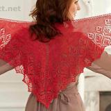 Вязаная ажурная шаль Red Orchid