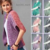 Двухцветный жакет поперечное вязание