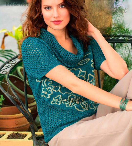 Пуловер с цветочными мотивами