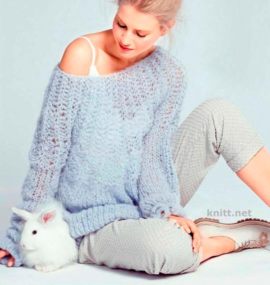 Пуловер с силуэтом-баллон и круглой кокеткой