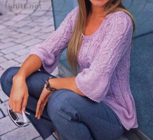 Сиреневый пуловер с косами и баской