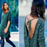 Удлиненный пуловер с открытой спиной