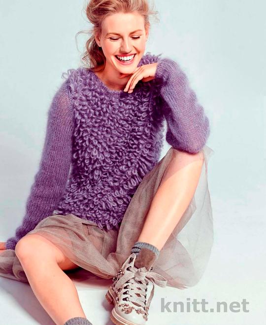 Вязаный пуловер с узором из вытянутых петель