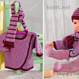 Жакет, полосатый шарф и шапочка