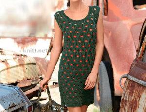 Платье спицами с отверстиями