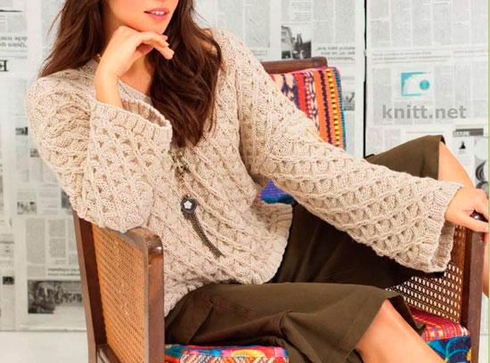 Бежевый пуловер с рельефным узором