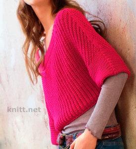 Короткий пуловер с полупатентным узором