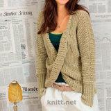 Оливковый пуловер с запахом