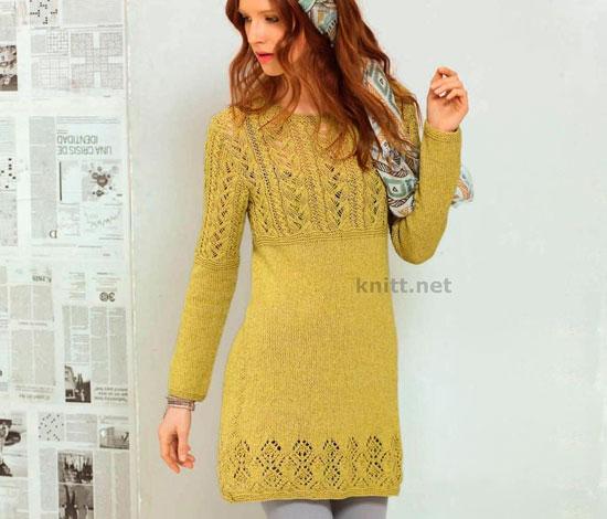 Платье цвета карри с узорами