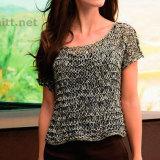 Пуловер платочной вязкой