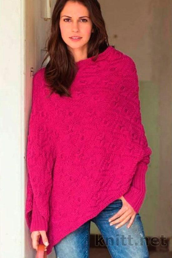 Пуловер-пончо с узором из кос и ромбов