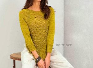 Пуловер реглан с узором из ромбов