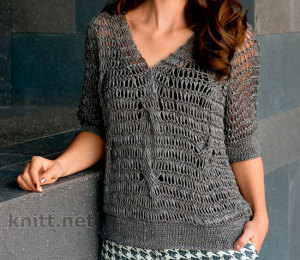 Пуловер реглан со спущенными петлями