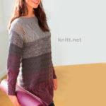 Пуловер с цветочными бордюрами