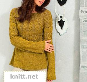 Пуловер с косами и круглой кокеткой
