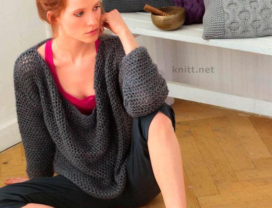 Пуловер с вырезом качели