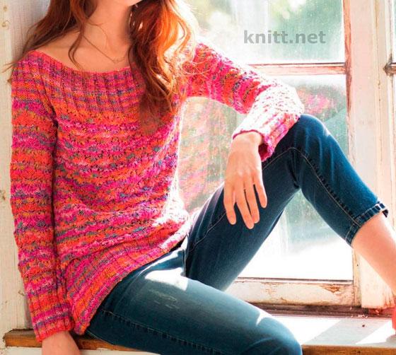 Розовый меланжевый пуловер с ажурным узором