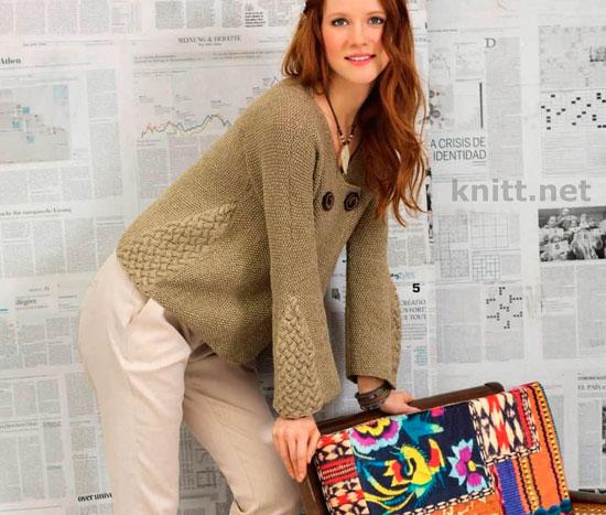Жакет с вставками плетеного узора