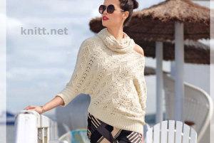 Асимметричный пуловер и снуд с узорами