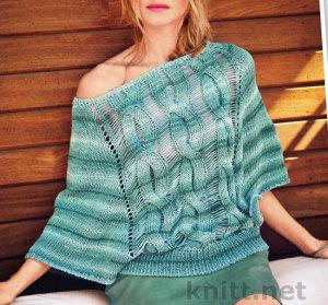 Пуловер с косами и спущенными петлями