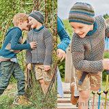 Пуловер с узором со спущенными петлями и шапочка
