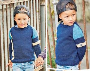 Темно-синий пуловер с рукавами реглан