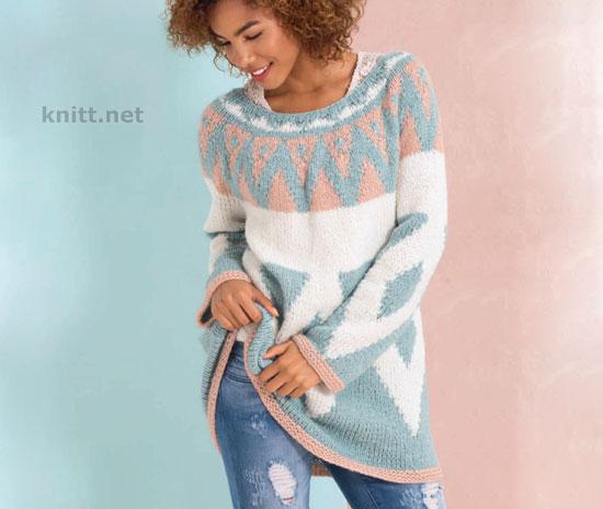 Трехцветный пуловер с круглой кокеткой