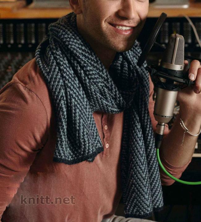 Вязаный мужской шарф